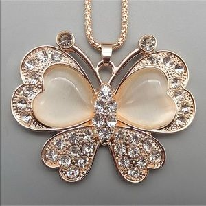 Opal Crystal Butterfly 🦋 Necklace